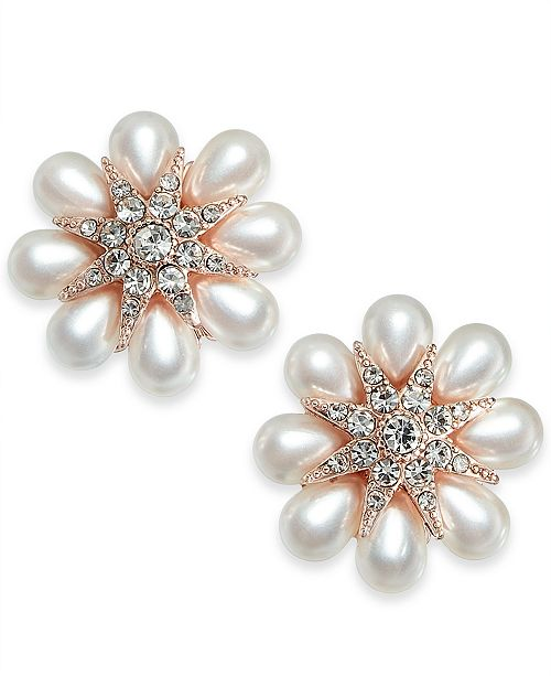 Charter Club Gold-Tone Crystal & Imitation Pearl Flower Stud Earrings, Created for Macy's