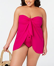 Lauren Ralph Lauren Plus Size Flyaway Slimming Fit  One-Piece Swimsuit