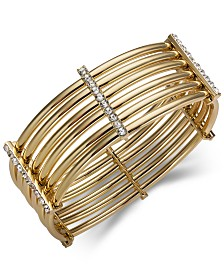 I.N.C. Gold-Tone Crystal Multi-Tube Stretch Bracelet, Created for Macy's