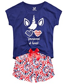 Little & Big Girls 2-Pc. Americorn Pajama Set