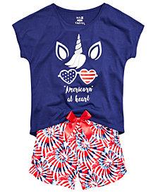 Max & Olivia Little & Big Girls 2-Pc. Americorn Pajama Set