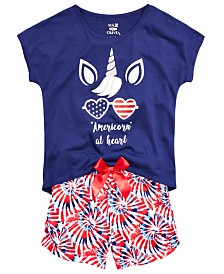 Max & Olivia Little & Big Girls 2-Pc. Americorn Pajama Set
