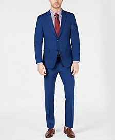 Men's Modern-Fit THFlex Stretch Blue Neat Tic Suit