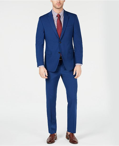 Tommy Hilfiger Men's Modern-Fit THFlex Stretch Blue Neat Tic Suit