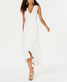 Bar III Sleeveless Ruffle Wrap Dress, Created for Macy's