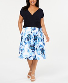 SL Fashions Plus Size Floral-Skirt A-Line Dress