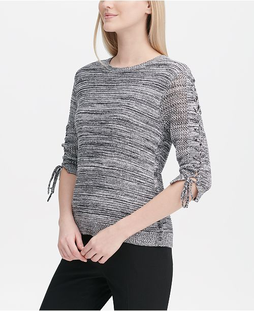 Calvin Klein Laced-Sleeve Marled Sweater