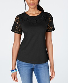 4ab0dc324 Charter Club Cotton Lace-Embellished T-Shirt, Created for Macy's