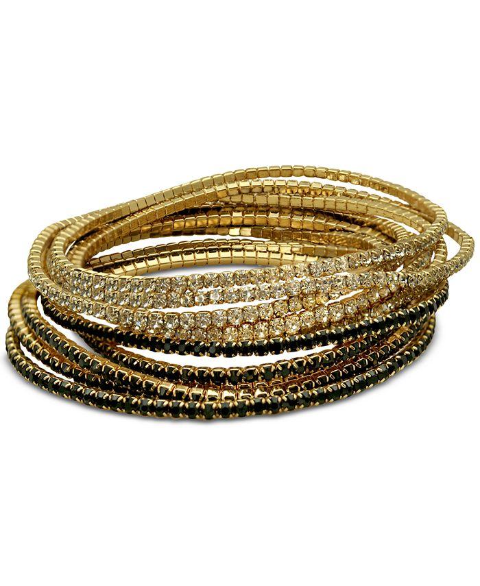 GUESS - Gold-Tone 10-Pc. Set Crystal & Black Stretch Bracelets