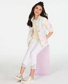 Epic Threads Big Girls Tie-Front T-Shirt, Tie-Dyed Jacket & Lace-Trim Jeans, Created for Macy's