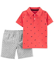 Carter's Toddler Boys 2-Pc. Printed Polo Shirt & Striped Shorts Set