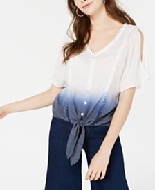 BCX Juniors' Ombré Cold-Shoulder Tie-Front Top