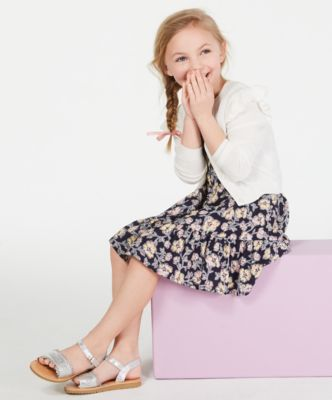 Little Girls Ruffle Shoulder Cropped Cardigan, Created for Macy's