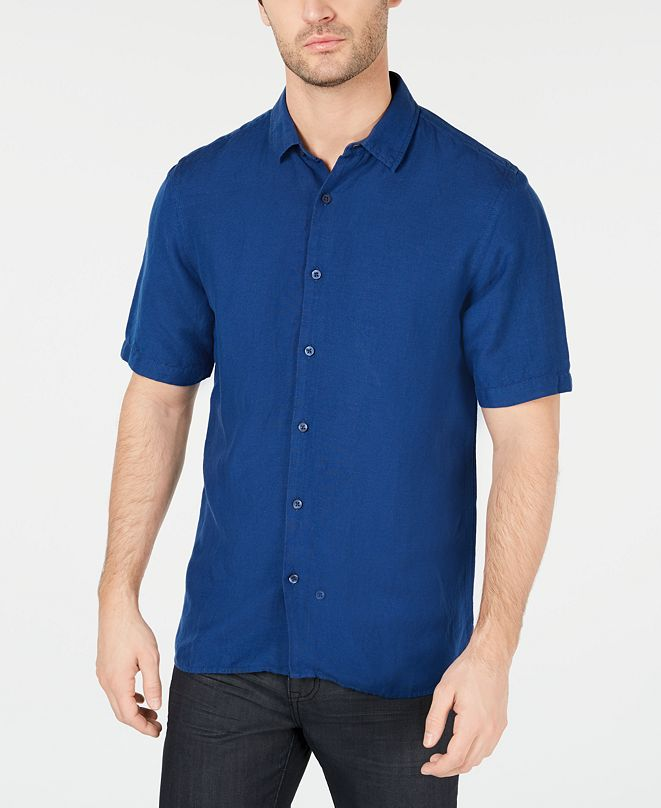 Alfani Men's Lagoon Stretch Linen Blend Classic Fit Shirt, Created for Macy's