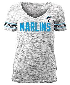 5th & Ocean Women's Miami Marlins Space Dye T-Shirt