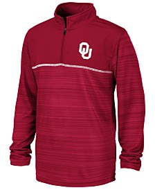 Colosseum Big Boys Oklahoma Sooners Striped Mesh Quarter-Zip Pullover