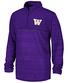 Big Boys Washington Huskies Striped Mesh Quarter-Zip Pullover