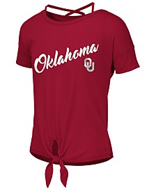 Colosseum Big Girls Oklahoma Sooners Tie Front Ballerina T-Shirt