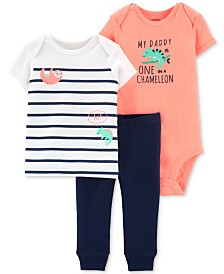 Carter's Baby Boys 3-Pc. Chameleon Bodysuit, T-Shirt & Jogger Pants Set
