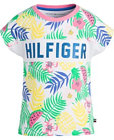 Tommy Hilfiger Big Girls Tropical-Print Cotton T-Shirt