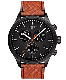 Men's Swiss Chronograph XL NBA Collector Orange Leather Strap Watch 45mm - A Special Edition