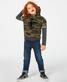Epic Threads Little Boys Layered-Look Camouflage Dino Hoodie & Slim-Fit Stretch Jeans, Created for Macy's