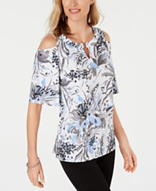 JM Collection Printed Grommet Cold Shoulder Top, Created for Macy's