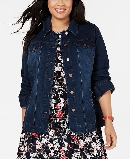 4a352ff164d Charter Club Plus Size Denim Jacket, Created for Macy's & Reviews ...