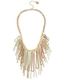 """BCBGeneration Gold-Tone Multicolor Crystal Fringe Statement Necklace, 16"""" + 3"""" extender"""