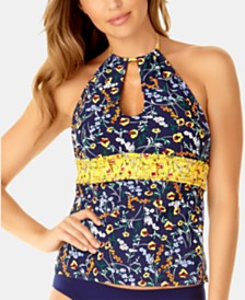 Anne Cole Studio Wildflower Ditsy Printed Smocked High-Neck Tankini Top