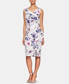 Alex Evenings Floral-Print Embellished Cascade Dress