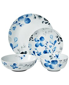 Darbie Angell You Make Me Blush Indigo 16-Pc. Dinnerware Set, Service for 4