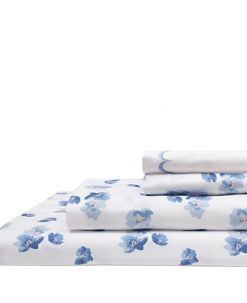 Elite Home Spring Meadow Print/ Embroidered Twin Sheet Sets