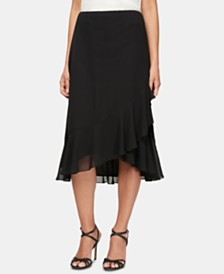 Alex Evenings Petite Ruffled Tulip-Hem Midi Skirt