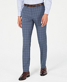 Men's Slim-Fit Stretch Blue Plaid Dress Pants