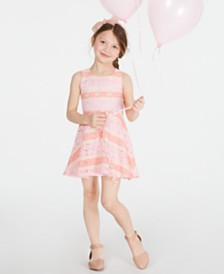 Epic Threads Little Girls Striped Lace Dress, Created for Macy's