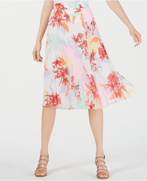 Bar III Floral-Print Pleated Skirt, Created for Macy's
