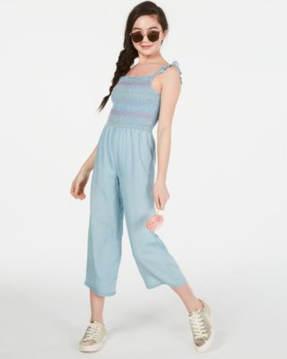Big Girls Smocked Jumpsuit, Created for Macy's