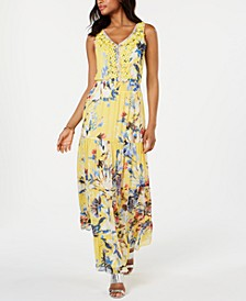 Floral Embellished Chiffon Maxi Gown