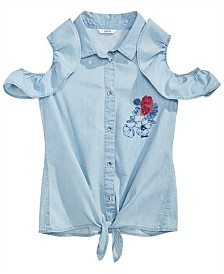 GUESS Big Girls Cotton Ruffle Cold Shoulder Shirt