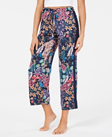 Josie By Natori Lotus Boutique Flower-Print Satin Cropped Pajama Pants