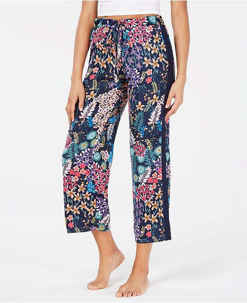 Josie By Natori Lotus Boutique Flower-Print Satin Cropped Pajama Pants