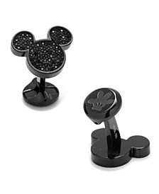 Stainless Steel Pave Crystal Mickey Mouse Cufflinks