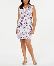 Alex Evenings Plus Size Printed Surplice Sheath Dress