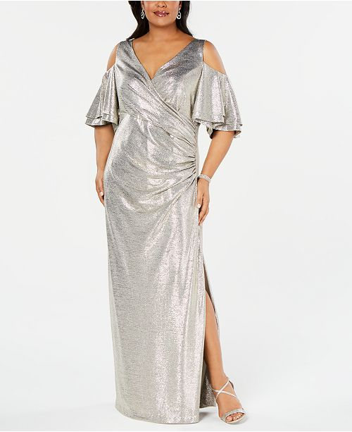 Betsy & Adam Plus Size Metallic Cold-Shoulder Gown