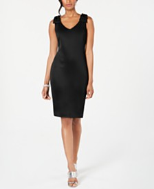 Connected Petite Bow-Shoulder Scuba Sheath Dress