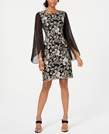 Connected Embroidered Chiffon-Sleeve Dress