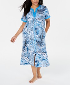 Miss Elaine Plus Printed Knit Long Zip Robe