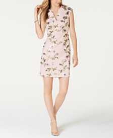 Connected Floral-Print Cap-Sleeve Sheath Dress