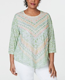 Alfred Dunner Plus Size Endless Weekend Mesh-Overlay Printed Top
